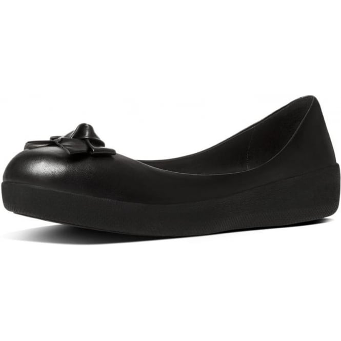 FitFlop Pretty Bow Superballerina™ in Black Leather