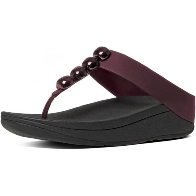 FitFlop Rola™ Leather Toe Post Sandals in Hot Cherry