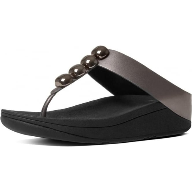 FitFlop Rola™ Leather Toe Post Sandals in Pewter