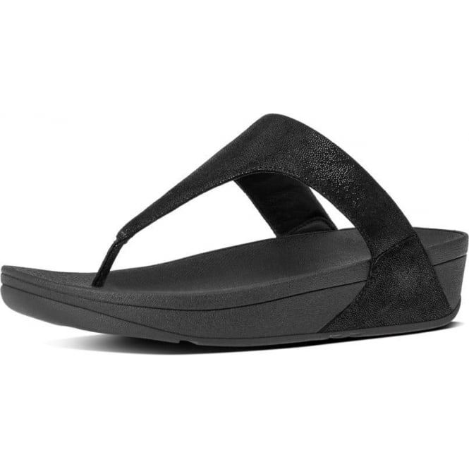 FitFlop Shimmy™ Suede Toe-Post Sandals in Black Glimmer