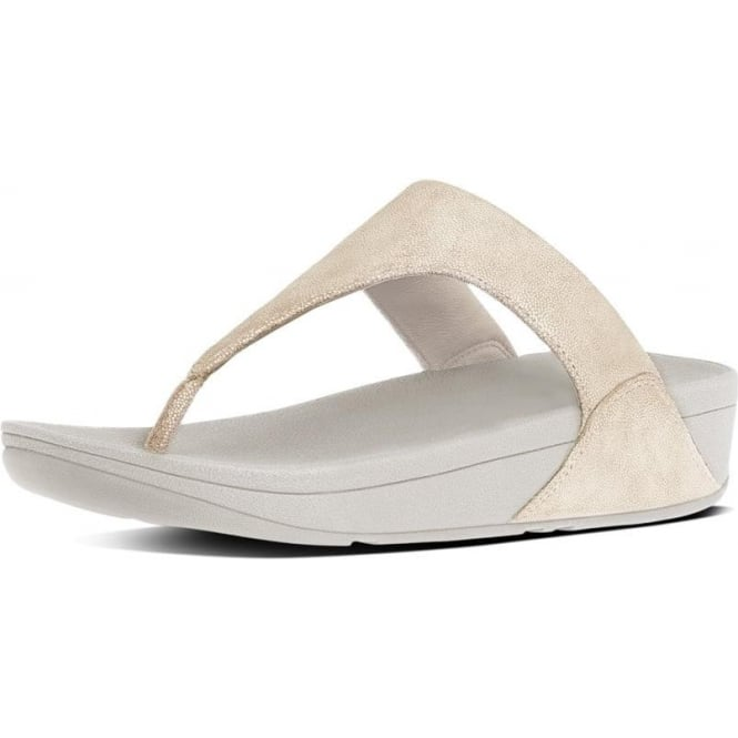 FitFlop Shimmy™ Suede Toe-Post Sandals in Pale Gold