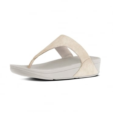 Shimmy™ Suede Toe-Post Sandals in Pale Gold