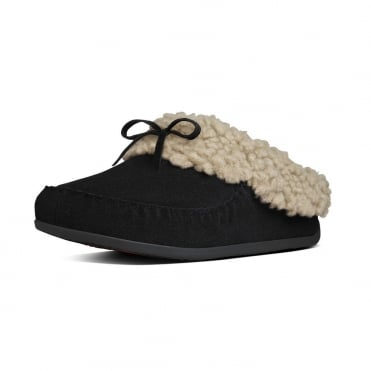 FitFlop Slippers The Cuddler Snugmoc In Black Suede