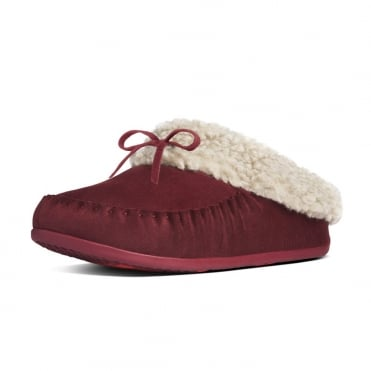 FitFlop Slippers The Cuddler Snugmoc In Hot Cherry Suede