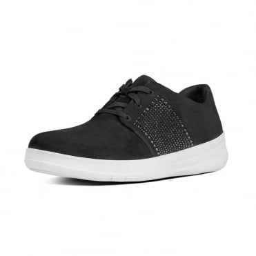 Sporty-Pop™ X Crystal Suede Sneakers in Black