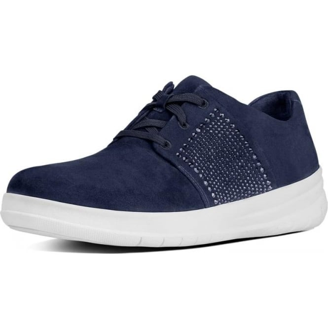 FitFlop Sporty-Pop™ X Crystal Suede Sneakers in Midnight Navy