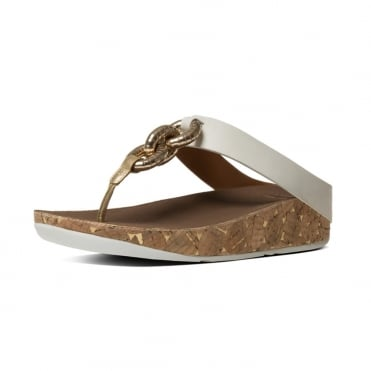 Superchain™ Leather Toe Post Sandals in Urban White