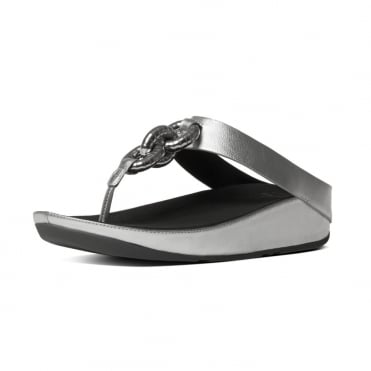 Superchain™ Metallic Toe Post Sandals in Silver