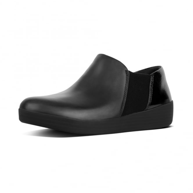 FitFlop Superchelsea™ Crinkle-Patent & Leather Mix Slip-Ons in Black