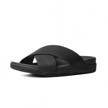 Surfer™ Men's Perf Leather Slide Sandals in Black