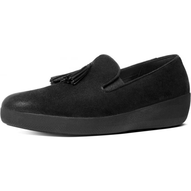 FitFlop Tassel Superskate™ Shimmersuede Loafers in Black