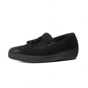 Tassel Superskate™ Shimmersuede Loafers in Black