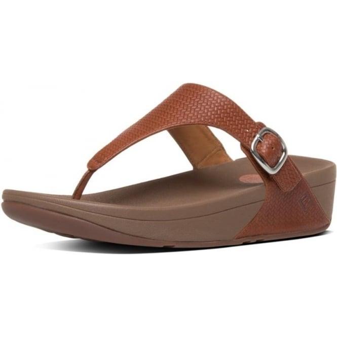 dfeafacb2c30 The Skinny™ Women  039 s Toe Post Sandal in Dark Tan Embossed Leather