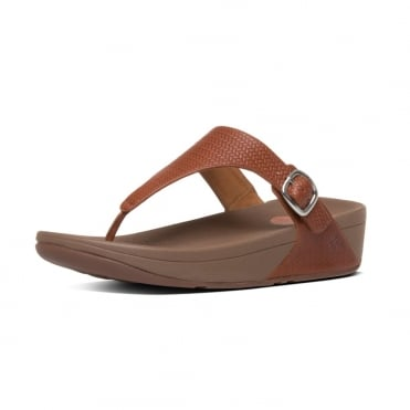 FitFlop The Skinny™ Women's Toe Post Sandal in Dark Tan Embossed Leather