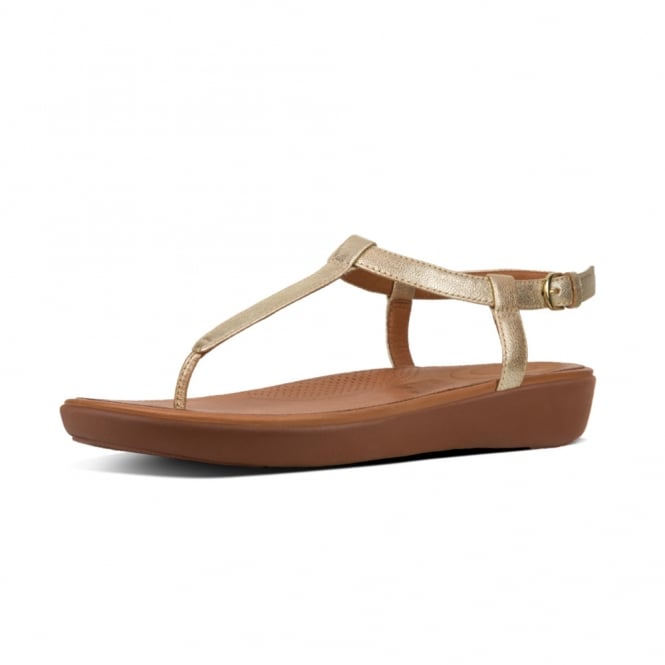 FitFlop Tia™ Toe Thong Sandals - Leather in Pale Gold
