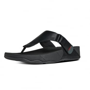 Trakk II™ Men's Leather Flip Flops in Black