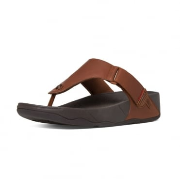Trakk II™ Men's Leather Flip Flops in Dark Tan