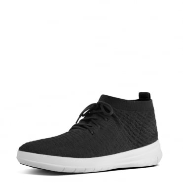 Uberknit™ Men's Slip-On High Top Sneakers in Waffle-Knit Black