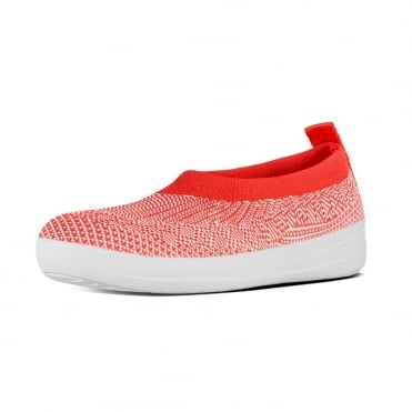 FitFlop Uberknit™ Slip-On Ballerinas in Hot Coral