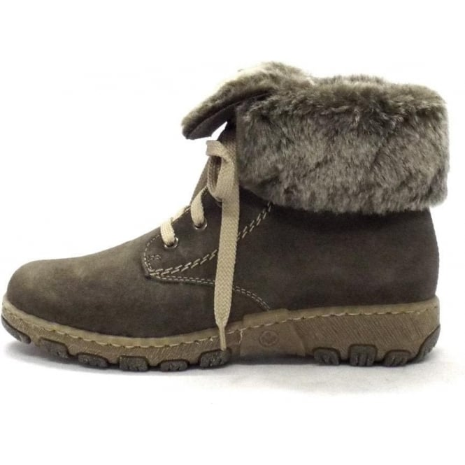 Rieker Fluffy Ladies Grey Suede Ankle Boots With