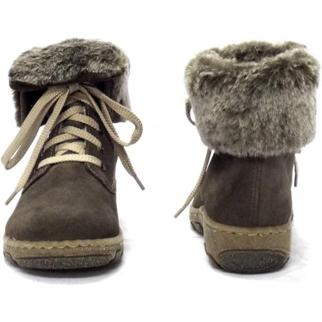 lower price with good looking 2019 authentic Rieker Fluffy Lambswool Lined Ankle Boots in Grey