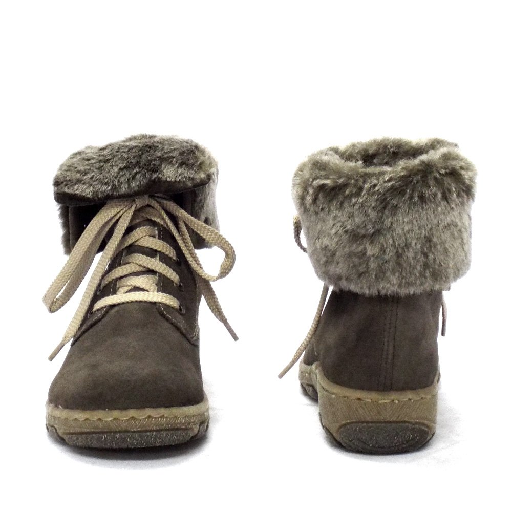 rieker fluffy grey suede ankle boots with
