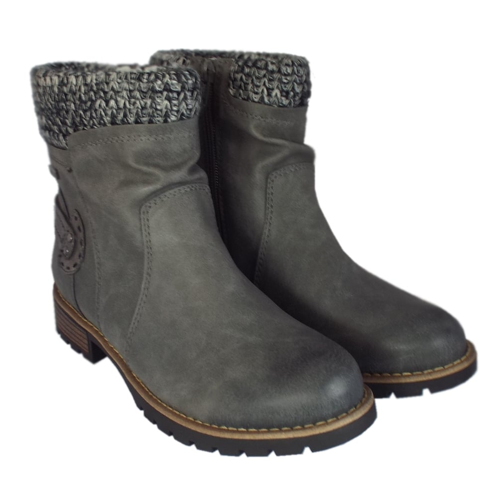 fosse graphite ankle boots with fleece