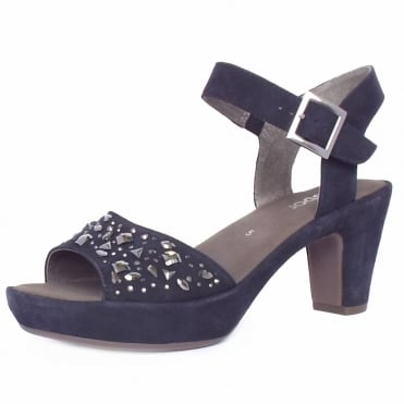 Abe Women's Dressy Block Heel Sandals in Navy Suede