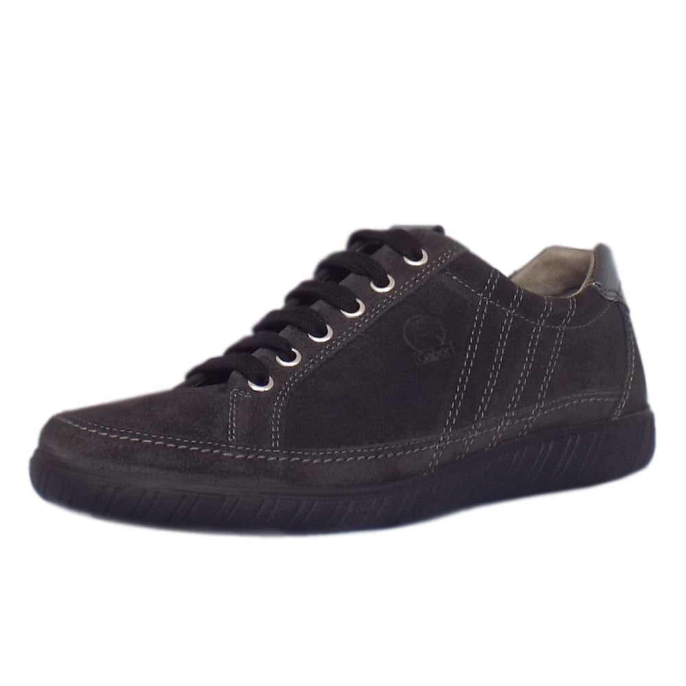 Amulet Modern Wide Fit Sporty Trainers In Dark Grey