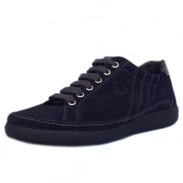 Amulet Modern Wide Fit Sporty Trainers In Navy Suede