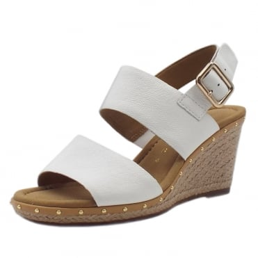 Anna 2 Fashion Wedge Sandals with Gold Stud in White