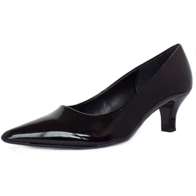 Gabor Arnica Black Patent Mid Heel Shoes