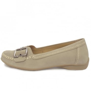Ascari Ladies Flat Shoe with Buckle in Taupe