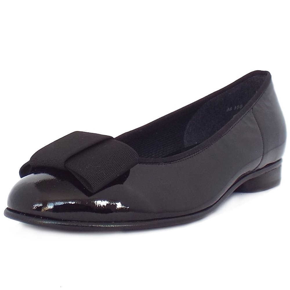 gabor shoes assist womens ballet pump in black patent. Black Bedroom Furniture Sets. Home Design Ideas