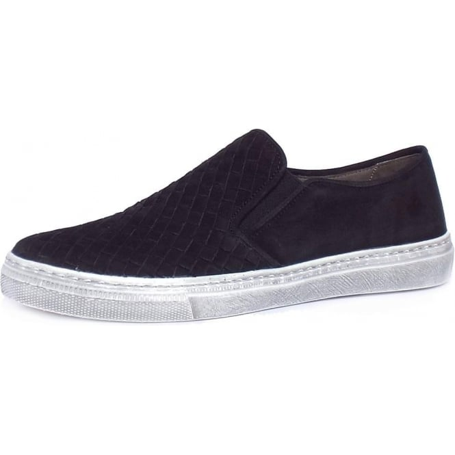 Gabor Auckland Women's Trendy Sporty Sneakers in Woven Black Nubuck