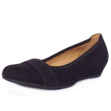Gabor Aylesford Dressy Smart Casual Wide Fit Pumps in Black Suede