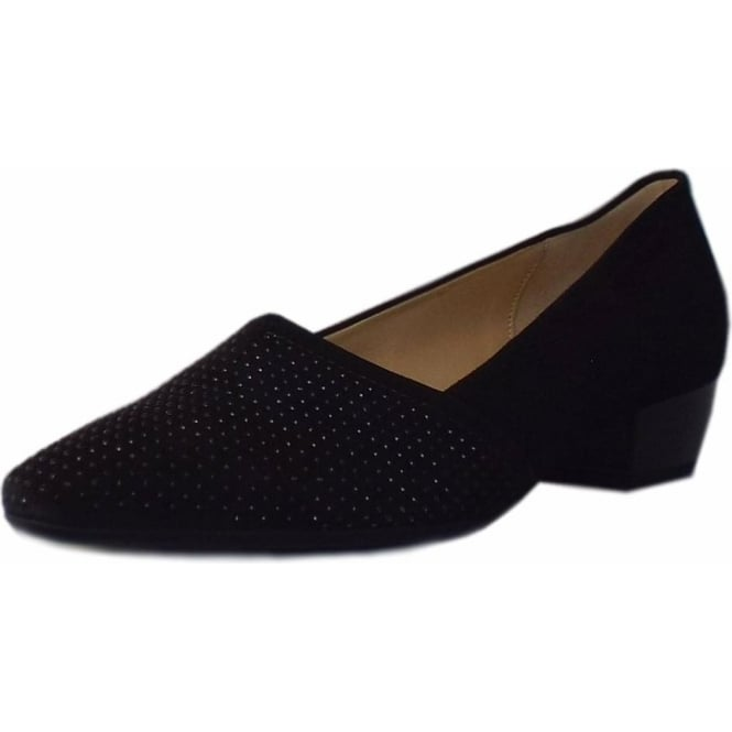 Gabor Azalea Pointed Toe Low Heel Courts in Black Suede