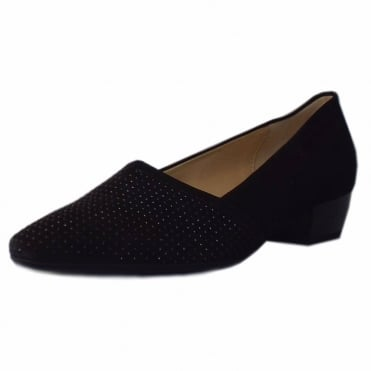 Azalea Pointed Toe Low Heel Courts in Black Suede