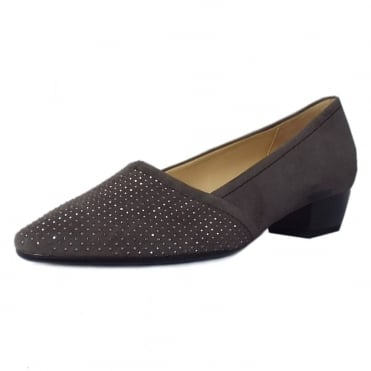 Azalea Pointed Toe Low Heel Courts in Grey Suede