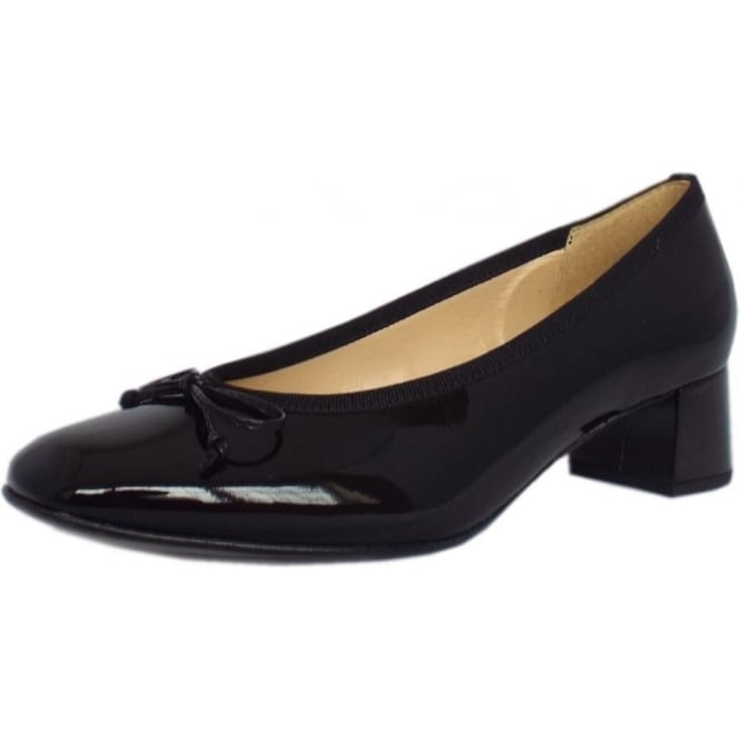 Gabor Belfast Low Heel Pump in Black Patent