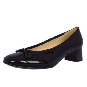 Belfast Low Heel Pump in Black Patent