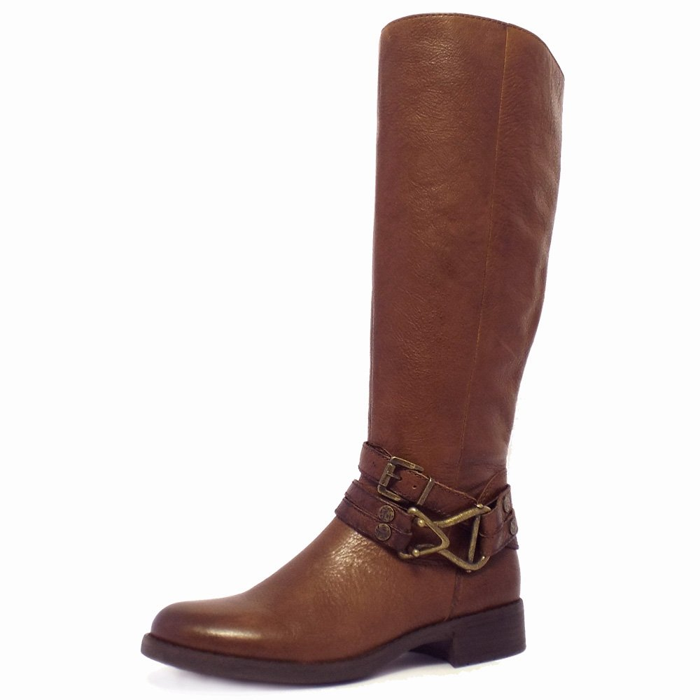 gabor bluebell modern knee high boots in brown leather
