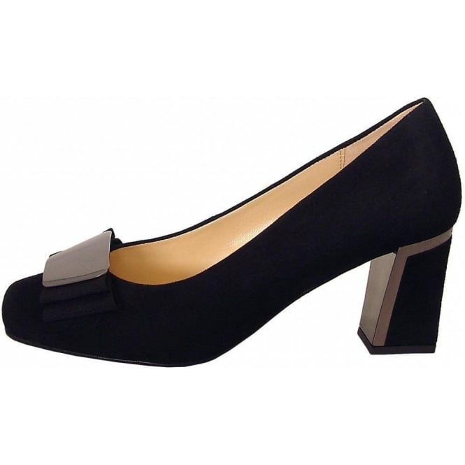 gabor shoes bovel womens court shoe in black suede mozimo