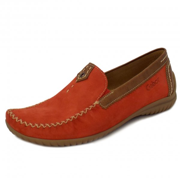 Ladies Loafer Wide Fitting Shoe In Red