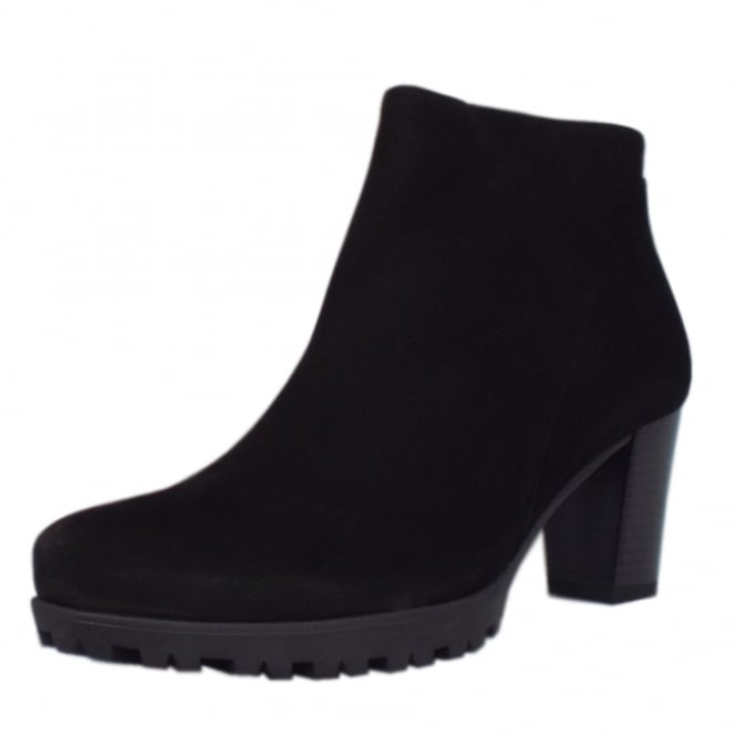 Gabor Calista Modern Sporty Mid Heel Ankle Boots in Black Nubuck