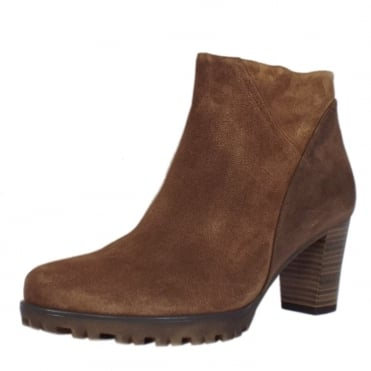 Calista Women's Modern Mid Heel Ankle Boots in Brown