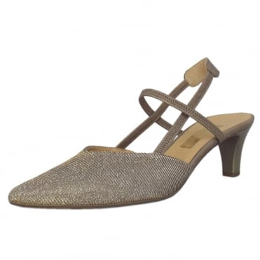 Castello Slingback Dressy Sandals in Silver/Gold