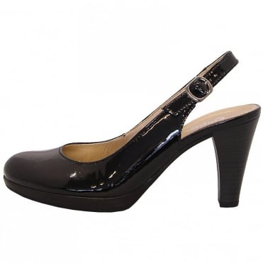 Gabor Cedarwood Womens Slingback In Black Patent