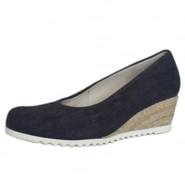 Chancellor Wide Fit Wedge Pumps in Night Blue Leather