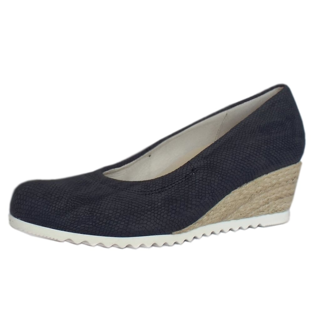 gabor chancellor s blue wide fit low wedge